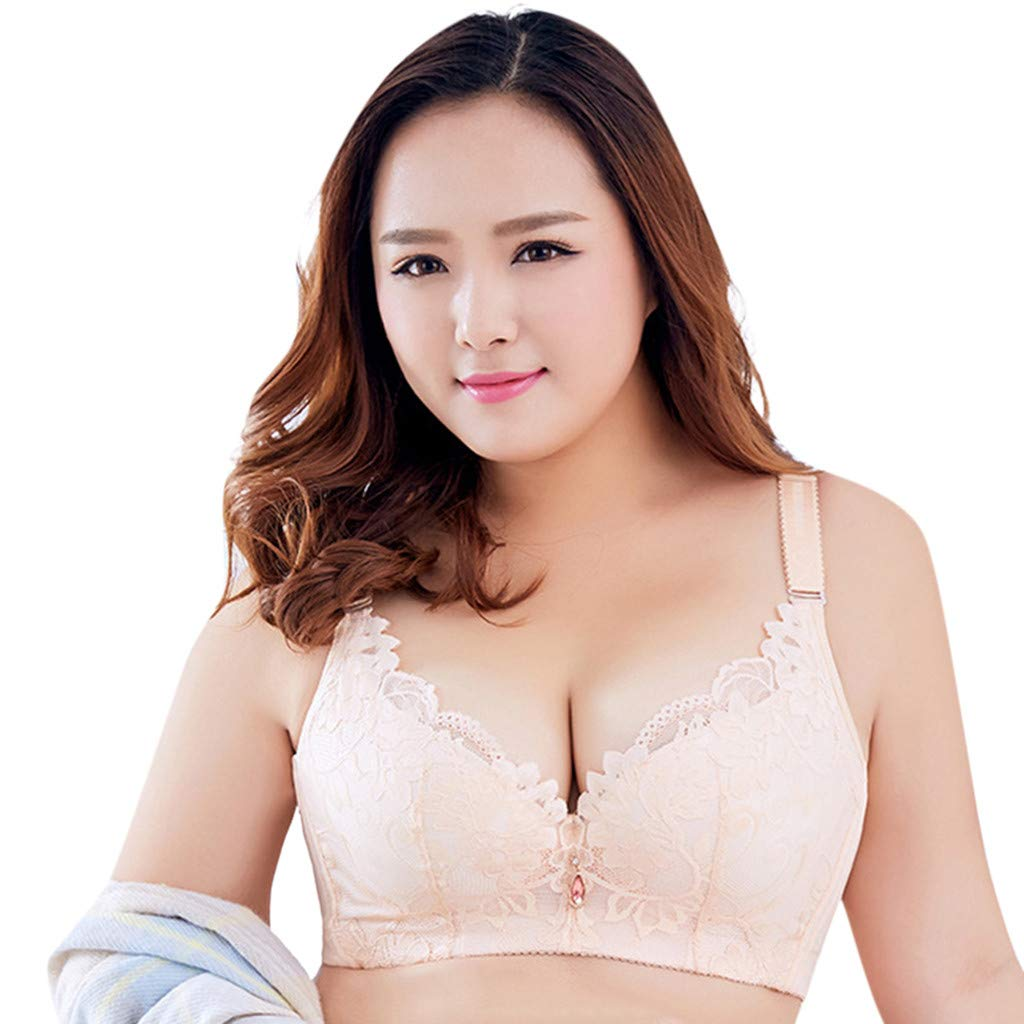 LOMONER Push up Bras for Women Plus Size Adjustable Sports Extra-Elastic Breathable Lace Trim Bra Underwire Tankini Beige by LOMONER