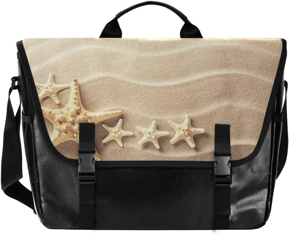Casual Canvas Satchel for Men Women Student Messenger Bag Laptop Computer Love Shoulder Bag Beautiful Starfish Beach Sand Traveling Camping
