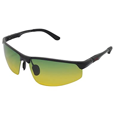 2f3d9ca406d LZXC Day and Night Polarized Sunglasses Sport Eyewear Men Driving Outdoor Spring  Hinge Unbreakable AL-MG Black Frame  Amazon.co.uk  Clothing