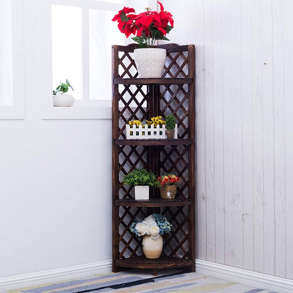 49138cm Flower racks - Solid Wood Flower Stand Living Room Balcony Indoor and Outdoor Flower Pot Shelf Retro Corner Storage Rack (Size   49  138cm)