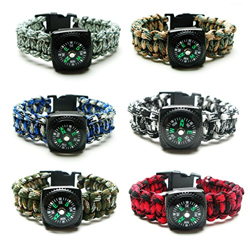 Compass Paracord Bracelet Set for Men, Teens 6 Pack - Survival Emergency Tactical Bracelets Braided with 550 lbs Parachute Cord and Mini Compasses - Men's Outdoor Accessories - Camp Party Favors -