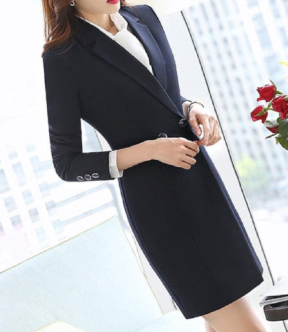 YUNY Women Notch Lapel Work Custom Fit Double Breasted Blazer Suit Jacket Dark Blue M