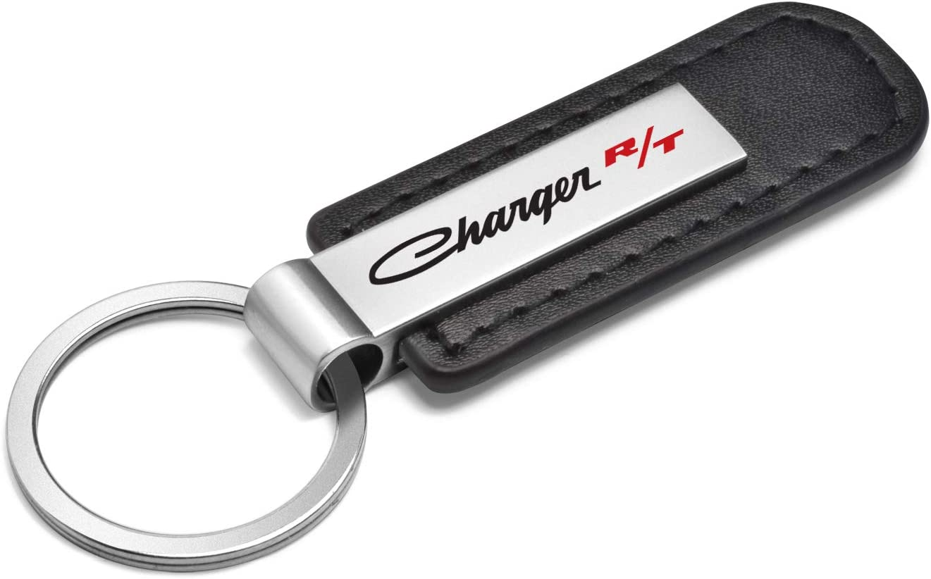 iPick Image Dodge Charger R//T Classic Black Leather Strap Key Chain Key-Ring