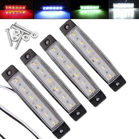 Electrely 4 Pezzi Luci di posizione laterali indicatori laterali per rimorchio universali per rimorchio bus camion trattore camper 12V 6 LED bianco caravan