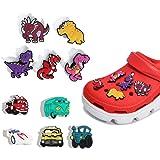 Croc Shoe Charms for Kids Trendy 10 Pcs Dinosaur Car Shoe Flower Shoe Buckle Decoration for Clog Shoe & Bracelet Wristband De