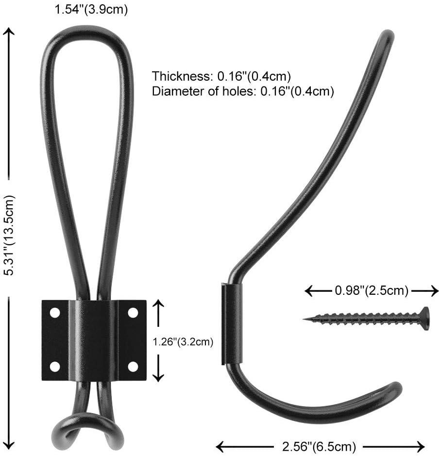 Heavy Duty Wall Hook,Black Coat Hooks Hardware,10 Packs Vintage Double Hooks for Hanging YAKAON Metal Hooks Decorative Entryway Hooks Wall Mounted Hooks