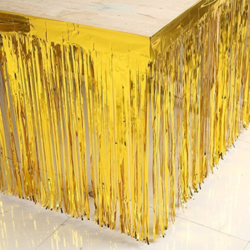 ShinyBeauty Metallic Fringe 29inch by 108inch 5 Pack Gold Tinsel Metallic Fringe Table Plastic Tablecover]()