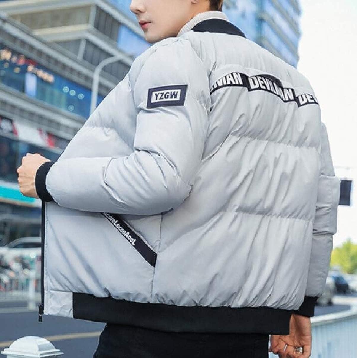 CBTLVSN Mens Coats Down Zipper Pocket Stand Collar Winter Coat Coat