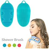 Soft Silicone Body Brush Body Wash Bath Shower Glove Exfoliating Skin SPA Massage Scrubber Cleanser, for sensitive and all kind skins (Blue)