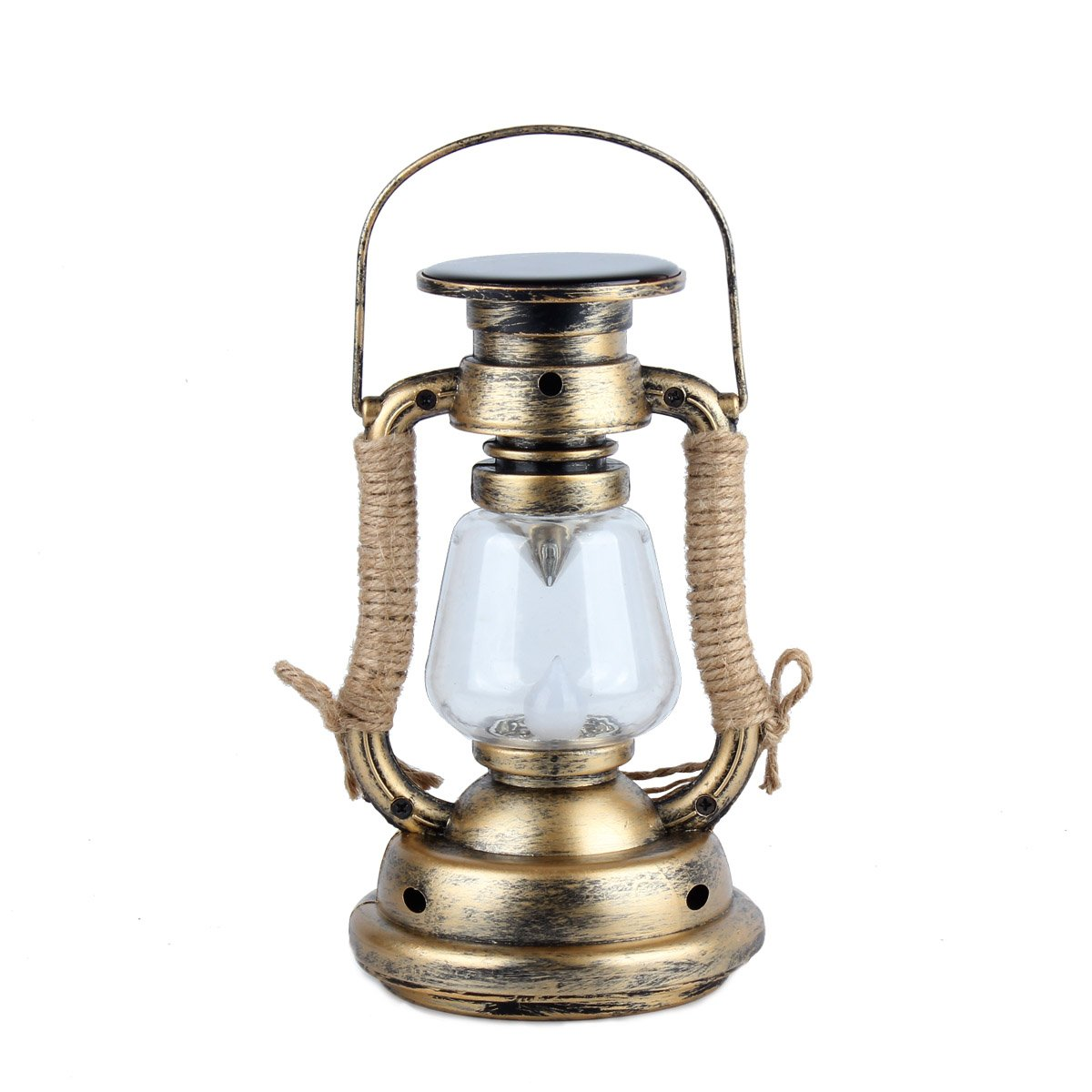 Solar LED Vintage Lantern, Rechargeable Hanging Lamp Flameless Candle, Warm White LED lighting for Garden Lawn Wedding Outdoor Party Decor (1AA Included)