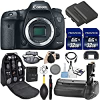 Canon EOS 7D Mark II DSLR Camera (Body Only). Kit Includes, 2Pcs 32GB Commander MemoryCard + Battery Grip + Extra Battery + Backpack Case + Grip Strap + Air Blower + Cleaning Kit Basic Facts Review Image