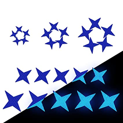 Pack of 25 Blue Longzhimei Reflective Stickers Safety Warning Tape Reflective Tape Self-Adhesive for Helmets Bicycles Strollers Wheelchairs and More