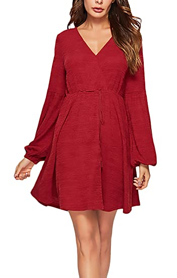 71625285706 Femme Robes Élégant Printemps Robes Ete V-Cou Long Manches Robe en Jersey  Court Unicolore Fashion Loisir Chic Mignon Plage Robe De Party Robe Mini   ...