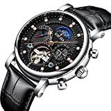 Business Automatic Mechanical Tourbillon Skeleton Date Moon Phase Genuine Leather Waterproof Men Watch (Black Silver)