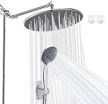 Rainfall Shower Head Black Kit,Lohner 8 inch High Pressure Rainfall Shower head with Handheld,11 inch Adjustable Shower Arm,70 inch Shower Hose