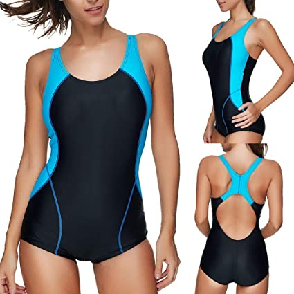1db95dba26dc4 Image Unavailable. Image not available for. Color: Go-First Women's Athletic  Pro One Piece Swimsuit Racerback Bathing Suits Swimwear ...