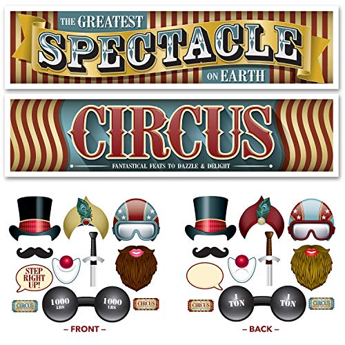 Vintage Circus Party Supplies - Photo Booth Props & Decorations for Circus and Carnival Selfie Stations