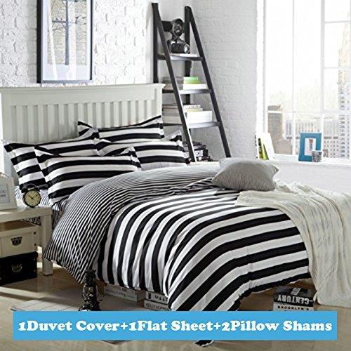 Ttmall Twin Full Queen Size Cotton 4-pieces Black White Striped Prints Duvet Cover Sets (Full, 1flat Sheet+1duvet Cover+2pillowcases)