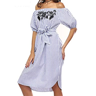 Molif Striped Dress Women Off Shoulder Short Sleeve Slash Neck Print Floral Dress Beach Vestidos as