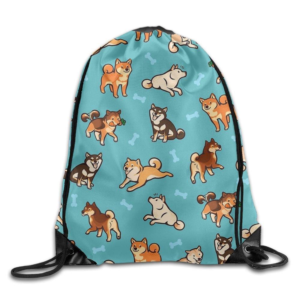 CUW BBCUW Shiba Inu Love Bones Basic Drawstring Backpack Gym Sackpack For Men & Women School Travel Bag