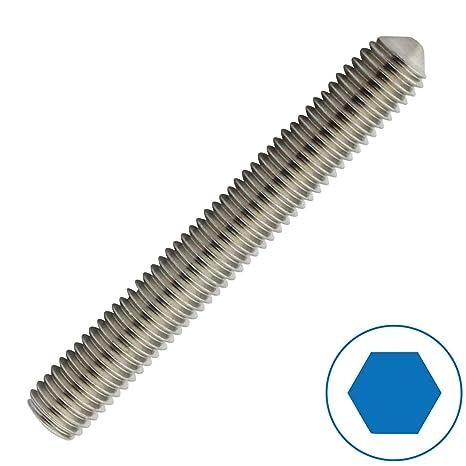 M5 x 8 mm Gewindestift mit Innensechskant und Spitze Gewindeschrauben - Madenschrauben DIN 914 Eisenwaren2000 5 St/ück Edelstahl A2 V2A rostfrei ISO 4027