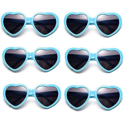 Fsmiling Neon Farben Party Gefälligkeiten Herzform Sonnenbrille für Kinder Erwachsene(6 Pack Neon Colours) bn9Di4K