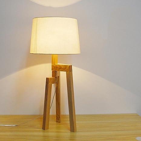 SHDT Lampada da tavolo in treppiede in legno, lampade da tavolo ...