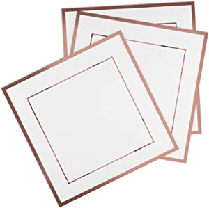 JAesthetics Premium 100 Pack Rose Gold Disposable Cocktail Napkins, For Desserts, Weddings, Baby Shower, Birthday Parties, 5 x 5 inches Folded, 3-PLY