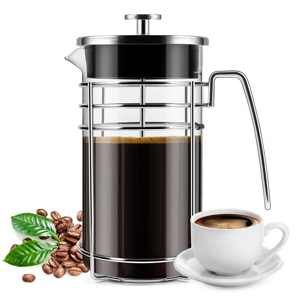 French Press Coffee Maker, (8 Cups/ 34 oz) Durable Easy Clean Coffee Pot Heat Resistant Borosilicate Glass - 100% BPA Free by PentaBeauty