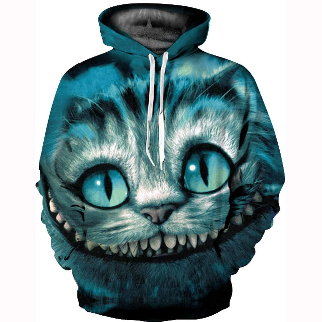 Xinantime Casual Scary Halloween Hooded Sweatershirt Print Party Long Sleeve Hoodie Top Blouse for Men and Women Green by Xinantime
