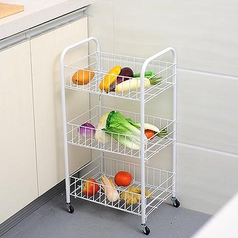 3-tire inoxidable carrito de cocina con ruedas de frutas/verduras escurreplatos con malla