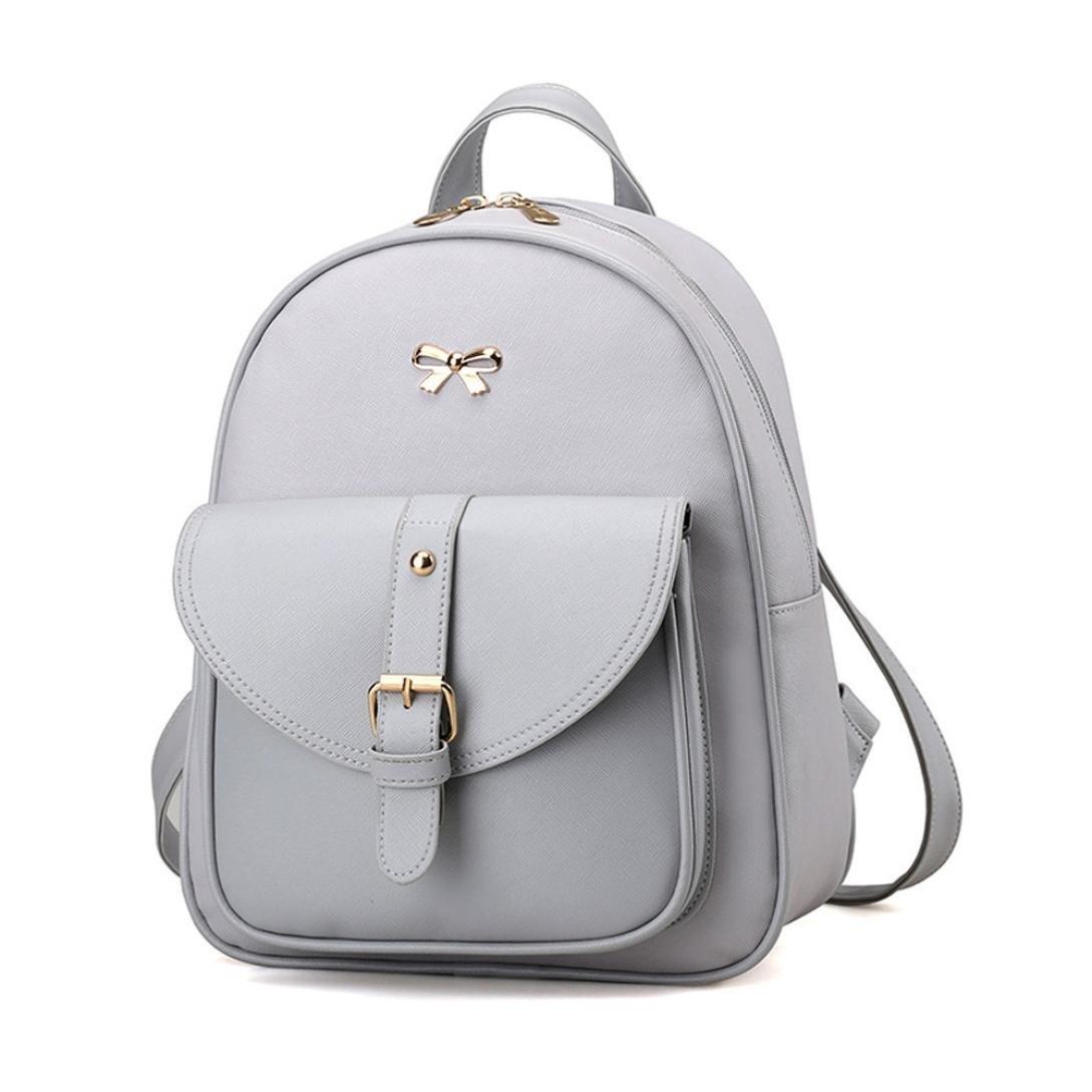 VIASA 4 Sets Women Girl Travel Backpack School Bag Shoulder Bag Handbag (Gray)