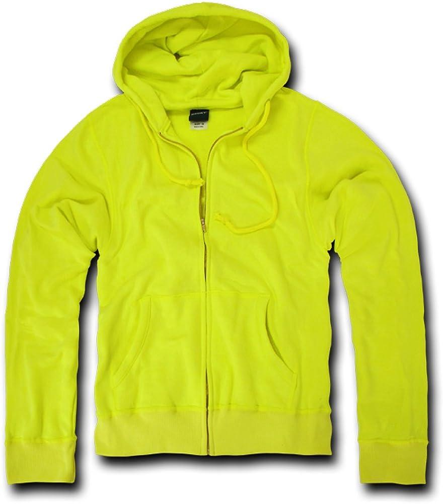 DECKY Original Yellow Neon Basic Zip Up Hoodies for Mens Yellow Small