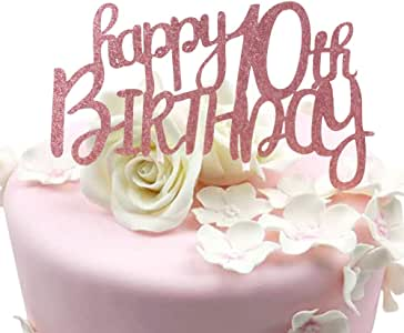 """Sunny ZX Rose Gold Glitter""""Happy 10th"""" Birthday Cake topper - Forever 10 Party Favors - 10th Birthday Party Decoration"""