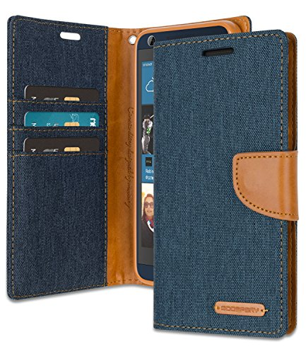 HTC Desire 626S Wallet Case with Free 4 Gifts [Shockproof] GOOSPERY Canvas Diary Ver.Magnetic [Denim Material] Card Holder with Kickstand Flip Cover for HTC Desire626S - Navy, - Wallet Phone Htc Desire