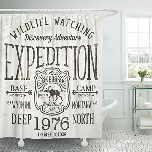 (Emvency Fabric Shower Curtain Curtains with Hooks Moose Lone Peak Wild Trail Expedition Artwork for Boy Mountain Silhouette Vintage Outdoor Travel Hiking Badge 66