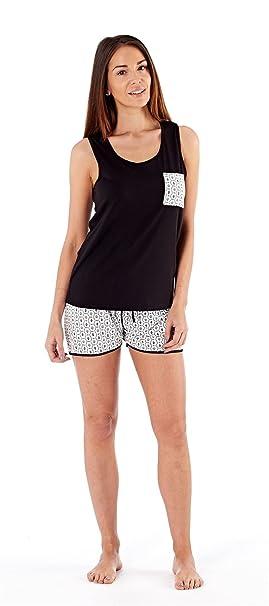 Fordville Ladies Womens Pyjamas Pjs Short Nightwear Sleepwear Black White  Loungewear de048965f