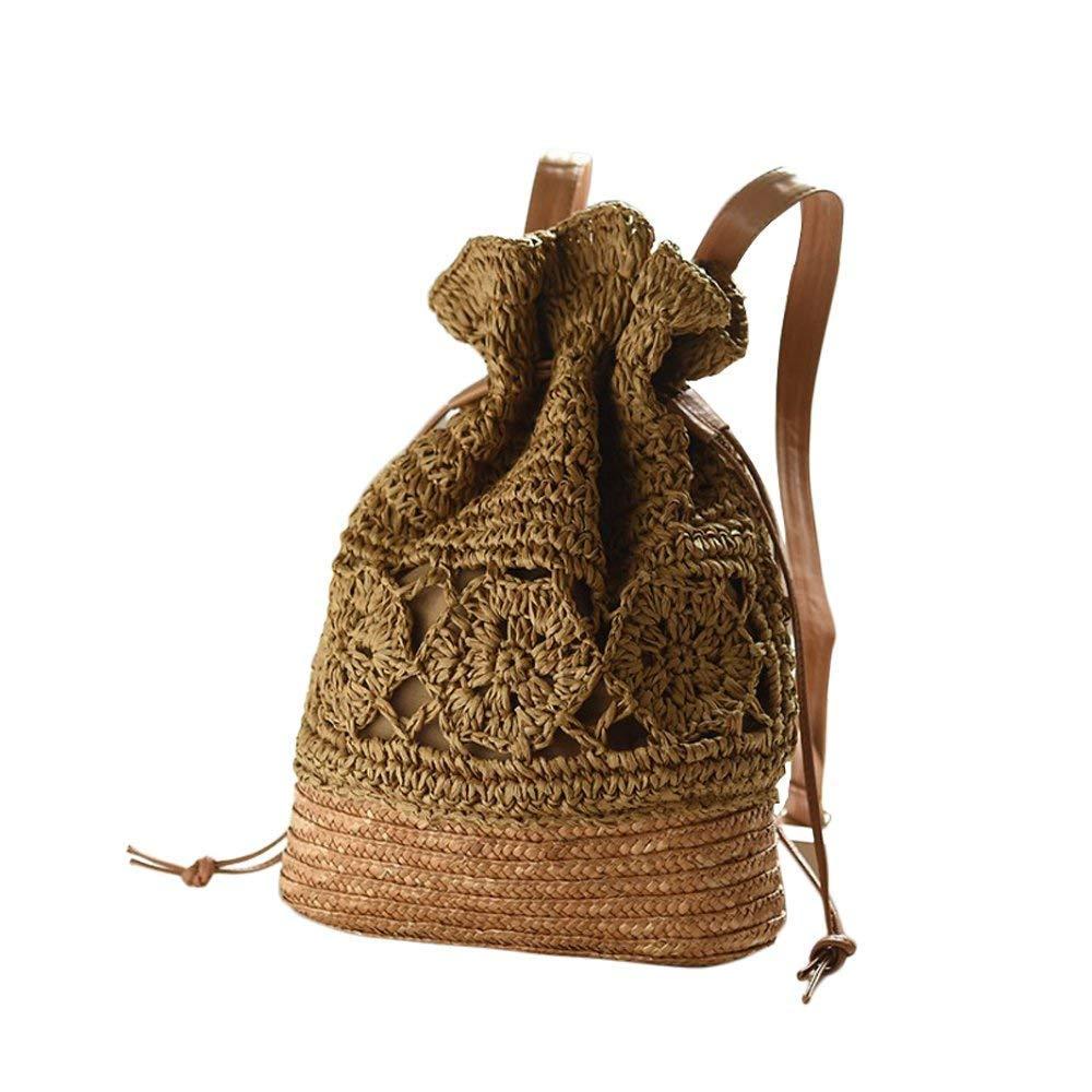 Laat hecho a mano tejido a crochet bolsas de hombro paja Mochila bolsa de playa cordón mochila de viaje bolsa estudiante Schoolbag flor Impreso, ...