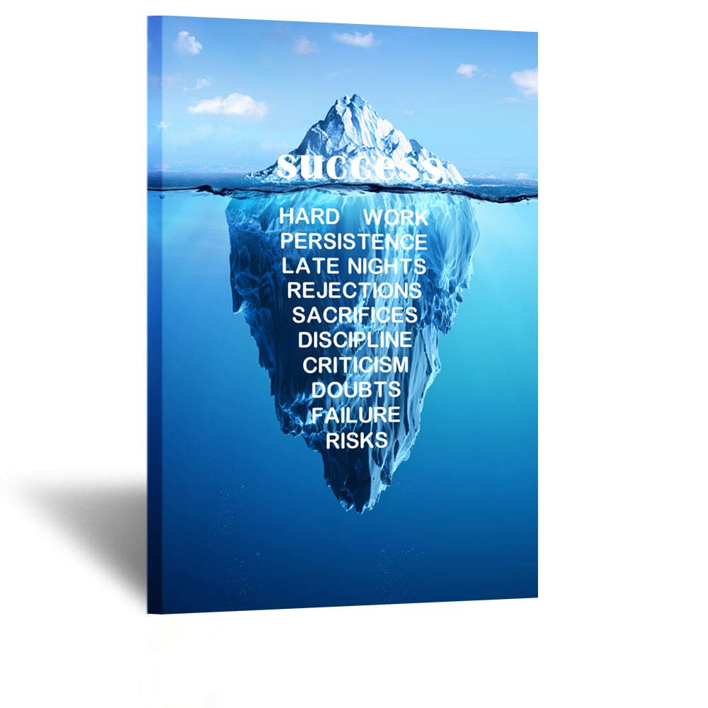 Kreative Arts - Canvas Quotes Wall Art Success Inspiration Motivation Iceberg Poster Stretched Gallery Wraps Giclee Print Ready to Hang for Office and Home Decor 24x36inch
