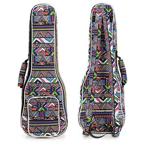 HOT SEAL Padded Handle 12MM Thick Colorful Stripes Print Durable Ukulele Case Bag with Independent Storage Pocket (21in, Geometric stripes) ()