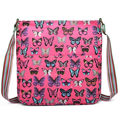 Miss Lulu 1104b Canvas Bag Womens Pink Folded p0w0qdT