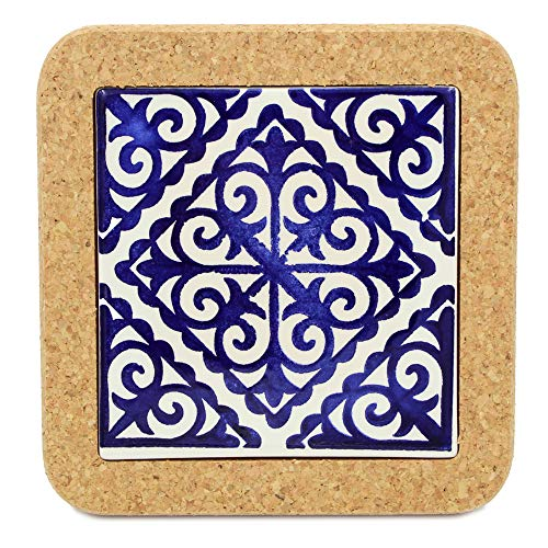 Tile Faience - Portugal Gifts Hand Painted Tile Trivet With Cork Made In Portugal (I)
