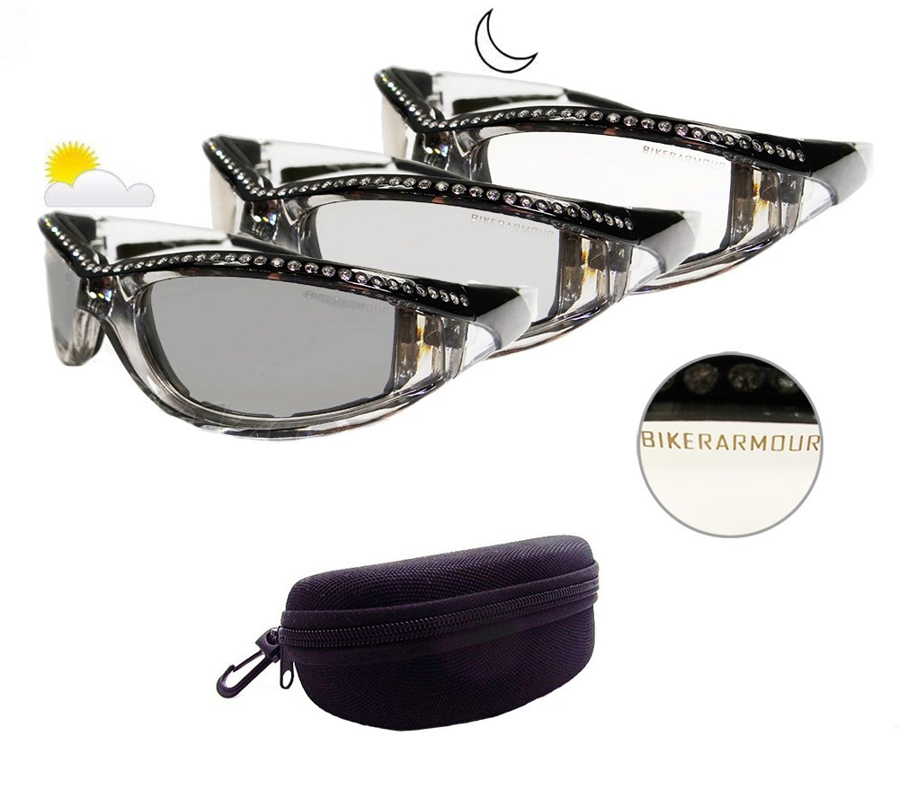dc76d0a69a4 Amazon.com  Motorcycle Day Night Transition Glasses for Women. Chrome and  Black frame with rhinestones  Automotive