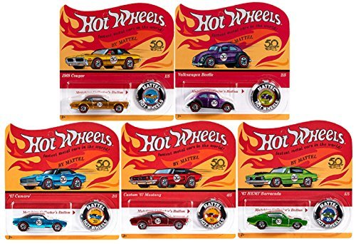 Hot Wheels 2018 50th Anniversary Originals Redlines Series Complete Set of 5 1/64 Diecast Cars, w/Button ()