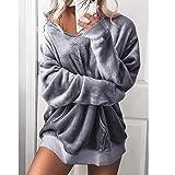 Behkiuoda Women V-Neck Overcoat Soft Velvet Jumper