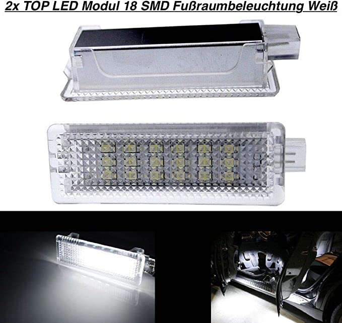 2x Top Led Modul 18 Smd Fußraumbeleuchtung Weiß Bm 030104 Auto