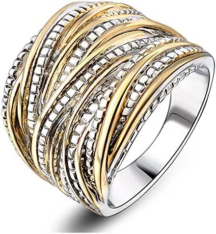 Mytys 18k Gold Plated Vintage Interwined Two Tone Antique Design Fashion Rings