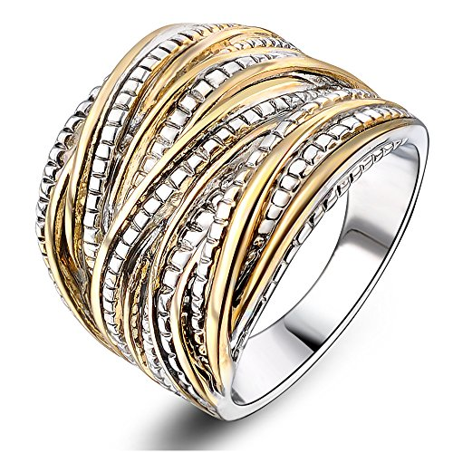Mytys 2 Tone Gold and Silver Intertwined Design Wrapped Wire Right Hand Ring 18mm Wide (8) (Fashion Women Rings)