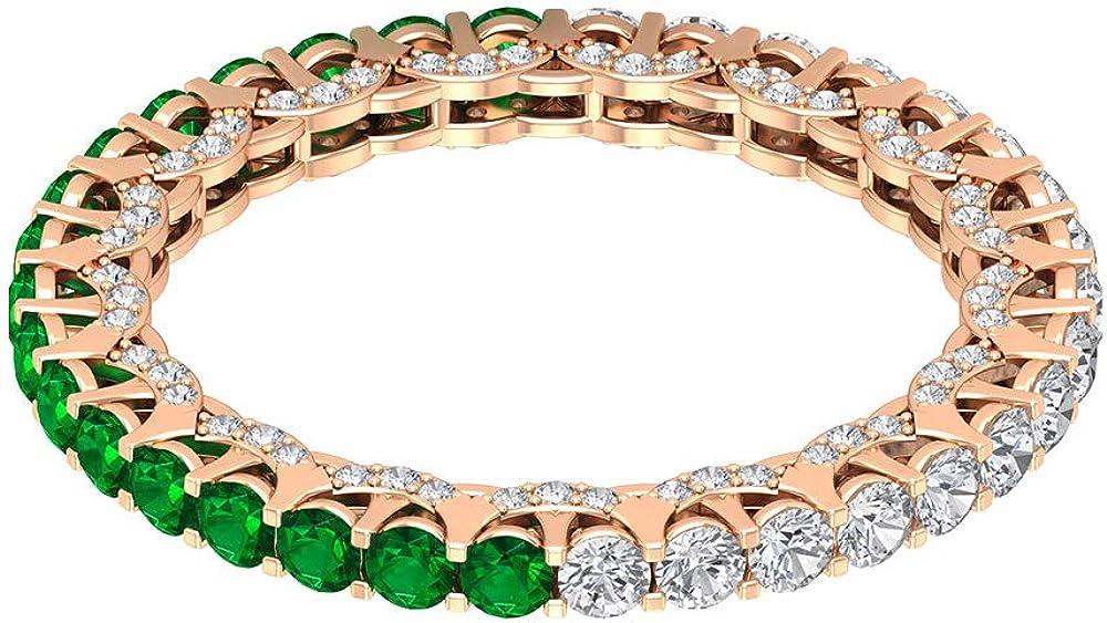 Anillo de eternidad de esmeralda de 3/4 ct, certificado de 2 mm, con diamantes de 0,88 ct, anillo de oro de las mujeres, con piedras preciosas, anillo de la banda Weddig, 14K Oro
