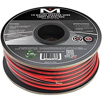 Amazon audiopipe 100 feet 16 ga gauge red black 2 conductor mediabridge 14awg 2 conductor speaker wire 100 ft blackred for home or car copper clad aluminum sw 14x2 100 br greentooth Image collections